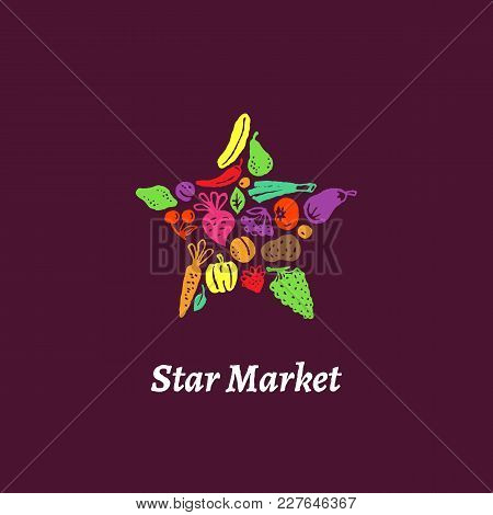 Label Shaped Star With Fruit And Vegetables. Vector Illustration.