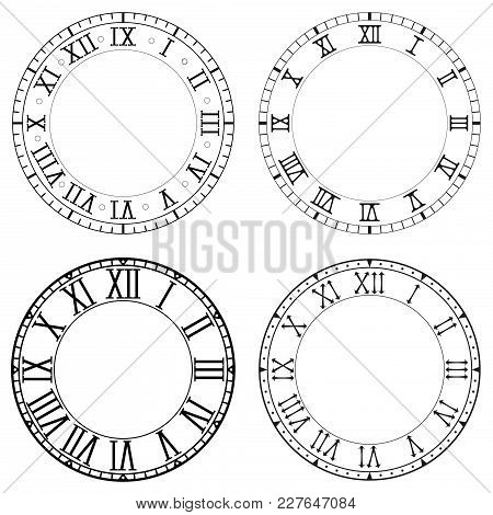 Clock Face. Blank White Clock With Roman Numerals On Black Background. Collection. Vector Illustrati