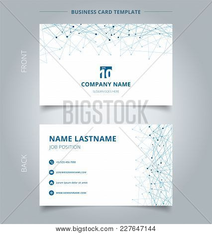 Creative Business Card And Name Card Template  Technology Blue Mesh With Dots On White Background. T