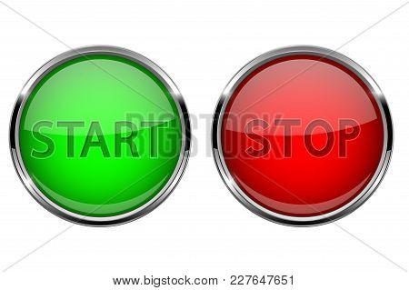 Start And Stop Glass Buttons. Round Shiny Green And Red Web Icons With Metal Frame. Vector 3d Illust