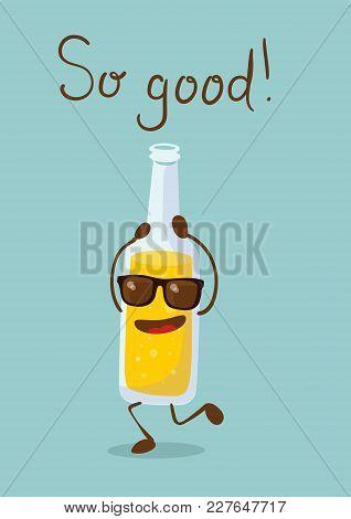Cartoon Funny Bottle With Soda Lemonadeand Hand Drawn Lettering -so Good