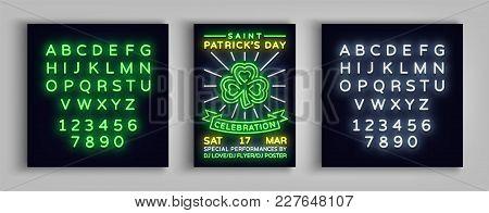 Happy St. Patrick's Day Celebration Invitation Card Design. Poster In The Style Neon, Neon Sign, Neo