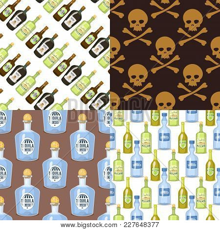 Alcohol Strong Drinks In Bottles And Cocktail Glasses Whiskey Cognac Brandy Beer Wine Vector Illustr