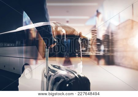 Business Travel Concept. Double Exposure Image With A Traveler And A Bus Driving At Night.3d Renderi