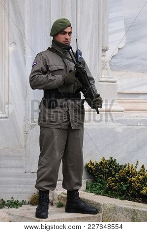 Istanbul, Turkey - January 13, 2018: Military Policeman Armed With M5 Submachinegun On Duty Next To