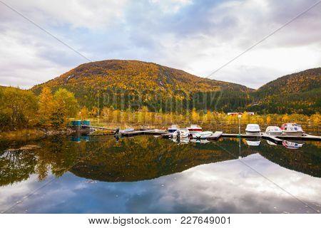 view on small marina on Hitra island, Norway