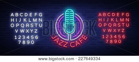 Jazz Cafe Is A Neon Sign. Symbol, Neon-style Logo, Bright Night Banner, Luminous Advertising On Jazz
