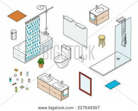 Set Of Isometric Bathroom Elements Including Shower, Bathtube, Mirror, Washbasin