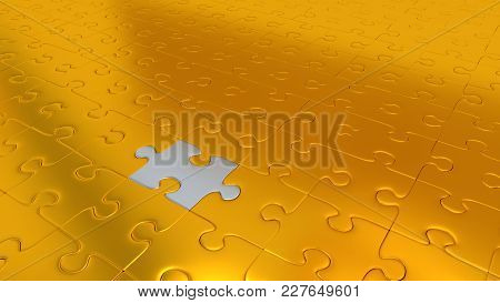3d Illustration Of Just Only One Silver Puzzle Piece Inside All Other Gold Pieces