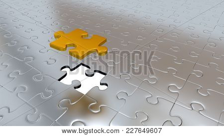 3d Illustration Of Only One Gold Puzzle Piece Above All Other Silver Puzzle Pieces With One Missing