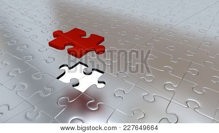 3d Illustration Of Only One Red Puzzle Piece Above All Other Silver Puzzle Pieces With One Missing P