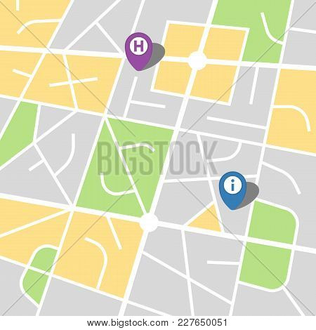 City Map Of An Imaginary City With Two Pins. Vector Illustration.