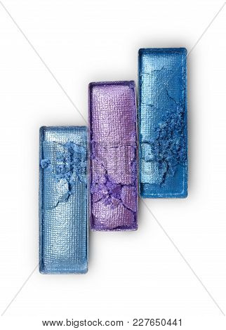 Rectangle Shiny Purple And Blue Crushed Eyeshadow For Makeup As Sample Of Cosmetic Product