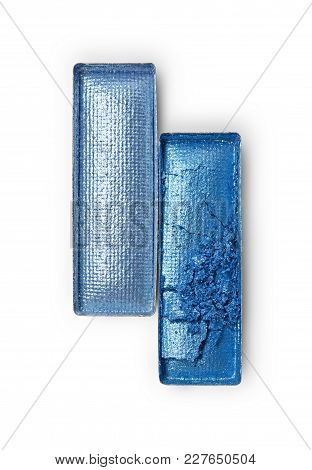 Rectangle Shiny Blue Crushed Eyeshadow For Makeup As Sample Of Cosmetic Product