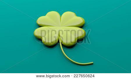 St Patrick's concept. Four leaf clover on green background. 3d illustration