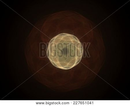 Abstract Fractal Red Background With Crossing Circles And Ovals. Disco Lights. Motion Illustration.