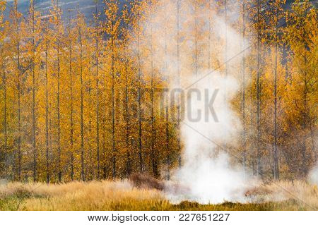 October Autumn Colors And Hot Sping In Geysir Iceland