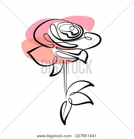 Vector Red Rose Drawing Of One Continuous Line. Color Illustration Of Flowers In The Style Of Line A