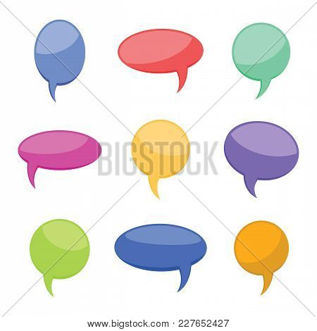 Set Of Nine Colorful Cartoon Comic Balloons Speech Bubbles Without Phrases And With Shadow. Vector I
