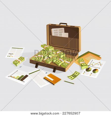 Work Desk With Documents, Suitcase And Money. Isolated On Light Background.