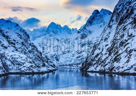 View Of Trollfjord With Snow Capped Mountains On Lofoten Islands Nordland Norway
