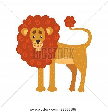 Cute Funny Lion Cartoon Character Vector Illustration Isolated On A White Background.