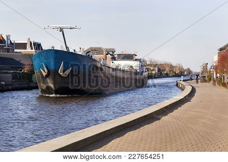 Barge On The River Gouwe In Boskoop In The Netherlands