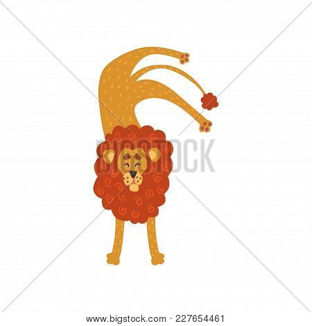 Cute Lion Cartoon Character Standing Upside Down Vector Illustration Isolated On A White Background.