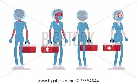 Male, Female Nurse Standing. Young Workers In Hospital Uniform At Workplace, Care-giver With Tool Bo