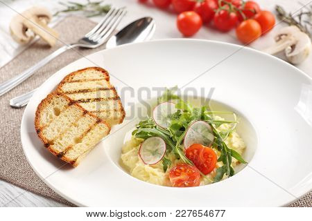 Mashed Potatoes On A White Wooden Background