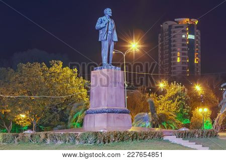 Sochi, Russia - February 10, 2018: Night View Of The Monument To Lenin.