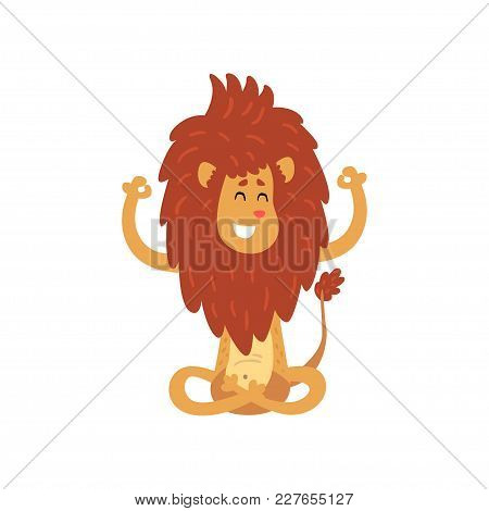Cute Lion Cub Cartoon Character Meditating In Lotus Position Vector Illustration Isolated On A White