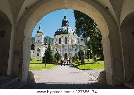 Ettal, Germany - September 02, 2010: Unidentified People Visit Ettal Abbey, A Benedictine Monastery