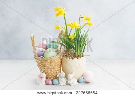 Easter Eggs Hunt - White Rabbits, Basket With Eggs And Daffodils On Gray Background