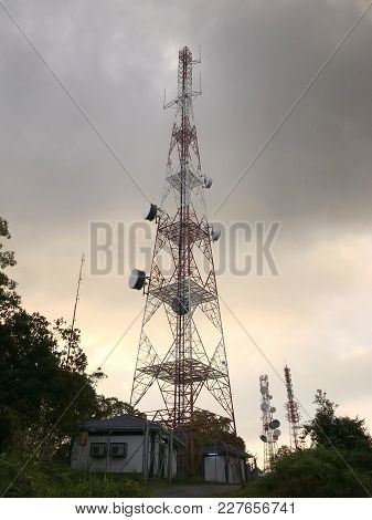 Antenna And Telecommunications Tower Located In Perak, Malaysia.