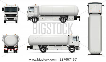 Tank Truck Vector Mock-up. Isolated Template Of Tanker Lorry On White. Vehicle Branding Mockup. Side
