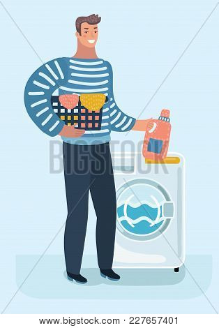 Vector Cartoon Illustration Of Happy Young Man Holding Laundry Basket Doing Chores With Washing Mach