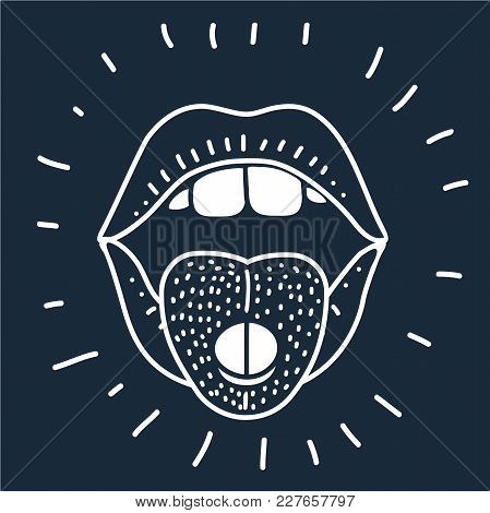 Vector Cartoon Illustration Of Open Mouth With Lips And Protruding Tongue With Pills. Human Mouth Ou