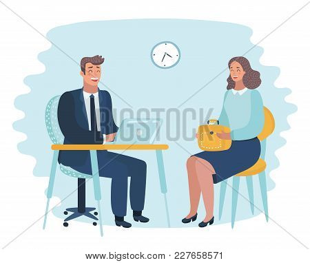 Vector Cartoon Illustration Of Office Employer Interview.