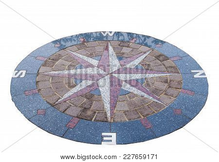 Concrete Block Compass Circle On White Background
