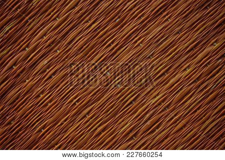 Traditional Thai Style Nature Background Of Brown Handicraft Weave Texture Wicker Surface For Furnit