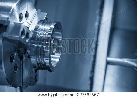 Cnc Lathe Machine Cutting The Metal  Screw Thread Part.