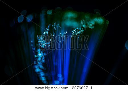 Selective Focus Of Glowing Blue Fiber Optics Texture Background