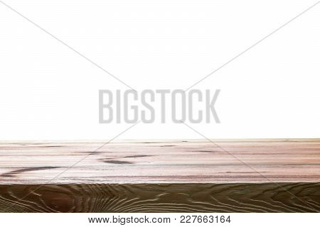Empty Top Table With Copy Space. Perspective Wooden Board Isoliert On White Background. Mock Up For