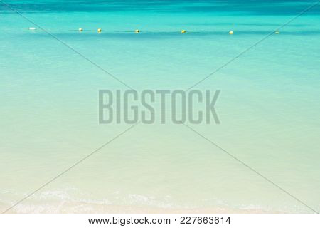 Sea Or Ocean With Turquoise Water In Antigua. Seascape On Idyllic Sunny Day. Summer Vacation In Cari