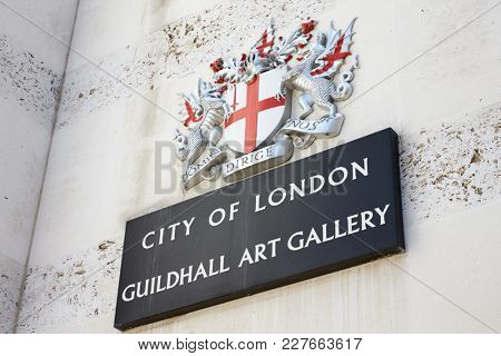 LONDON - MAY, 2017: City Of London Guildhall Art Gallery street sign, London, EC2, detail.