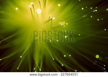 Top View Of Glowing Yellow Fiber Optics Background