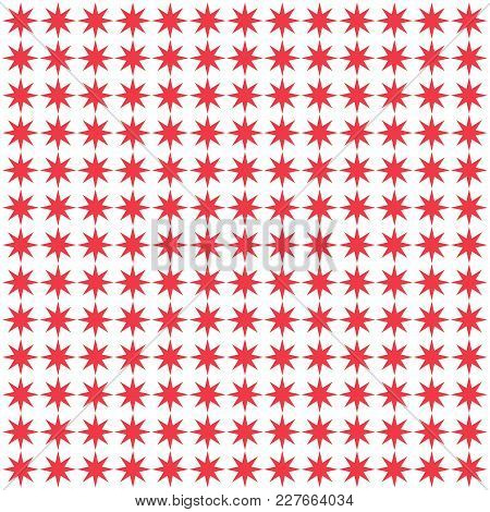 Background Seamless Pattern With Red Star Vector. Abstract Background.