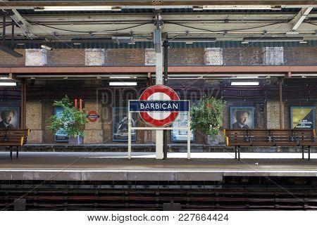 LONDON - MAY, 2017: Platform at Barbican tube station, City Of London, London