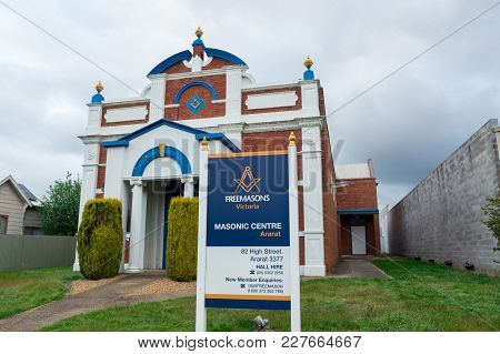 Ararat, Australia - October 21, 2017: Freemasons Victoria Is The Victorian Freemasonry Body. This Is